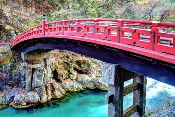 Nikko Photograph - Sacred Shinkyo Red Bridge In Nikko by Michaël Ducloux
