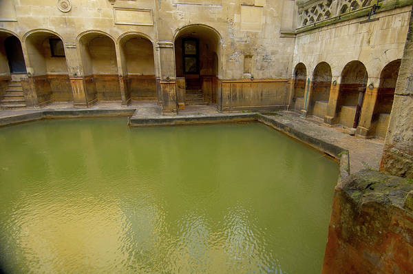 Trapped Photograph - Sacred Spring Enclosed At Roman Baths by Simon Greenwood