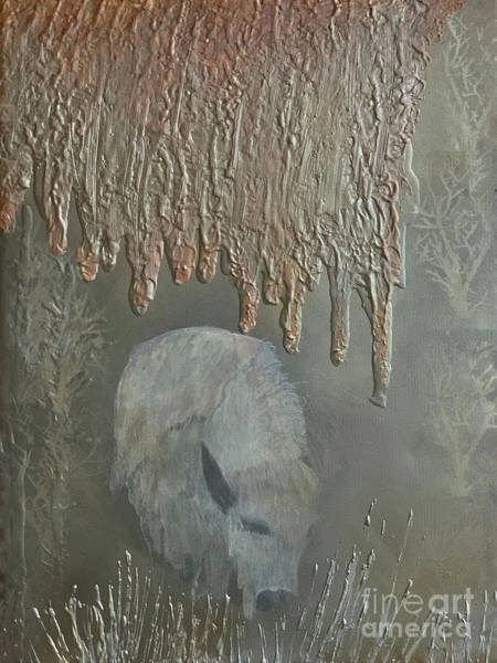 Wall Art - Mixed Media - Sacred White Buffalo by Nancy TeWinkel Lauren