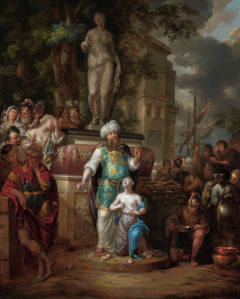 Artemis Wall Art - Painting - Sacrifice Of Iphigenia, 1700 by Arnold Houbraken