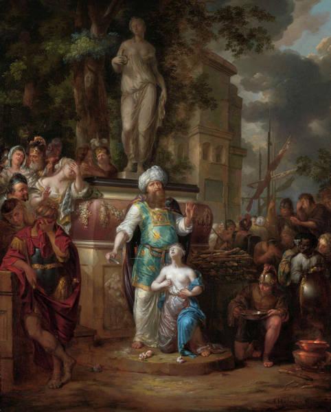 Crone Wall Art - Painting - Sacrifice Of Iphigenia, 1700 by Arnold Houbraken