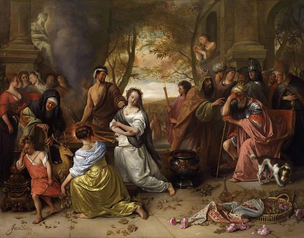 Crone Wall Art - Painting - Sacrifice Of Iphigenia by Jan Steen
