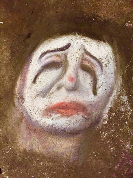 Wall Art - Drawing - Sad Clown by Mariah Townsend