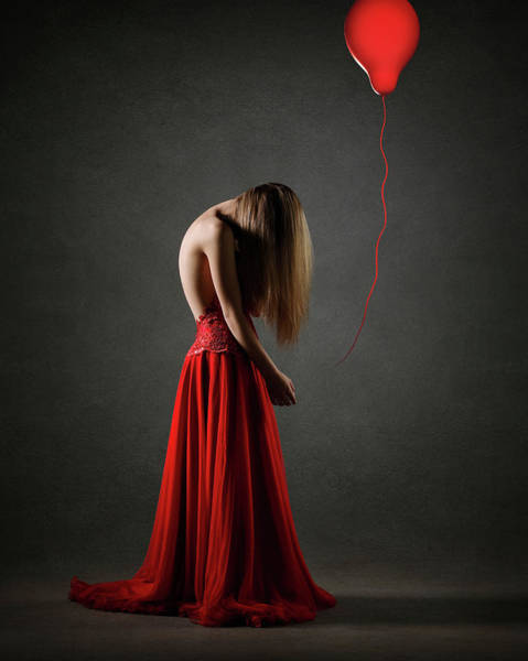 Sorrow Photograph - Sad Woman In Red by Johan Swanepoel