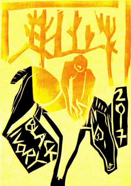 Digital Art - Saddling Horseman Black Ivory Woodcut Poster 3 by Artist Dot