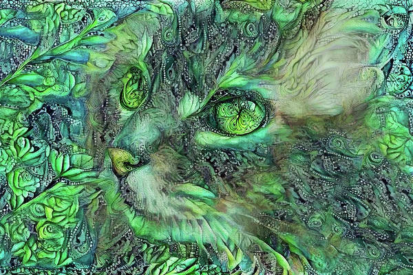 Digital Art - Sadie The Green Eyed Cat by Peggy Collins