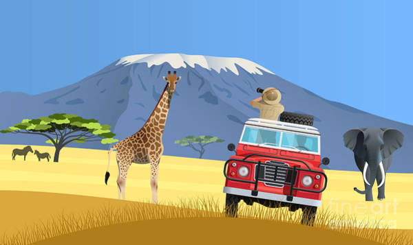 Wall Art - Digital Art - Safari Truck In African Savannah by Nikola Knezevic