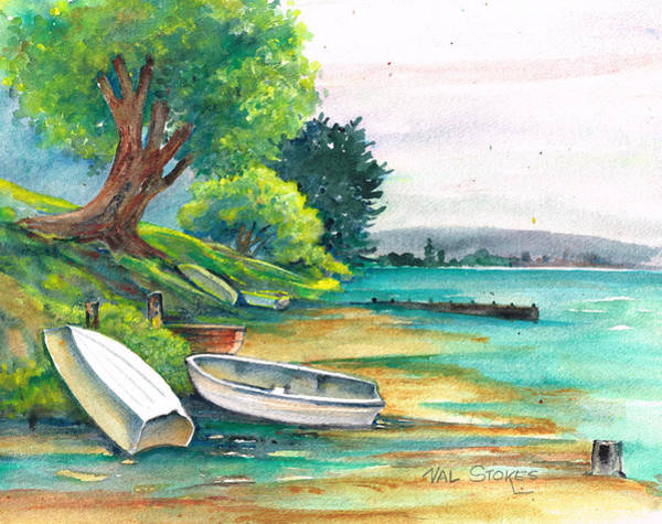 Painting - Safe Mooring-whangamata Harbour. by Val Stokes