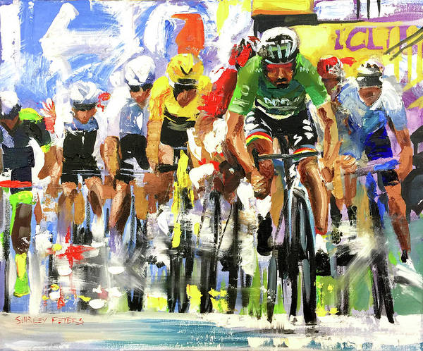 Le Tour De France Wall Art - Painting - Sagan Finish 2019 by Shirley Peters