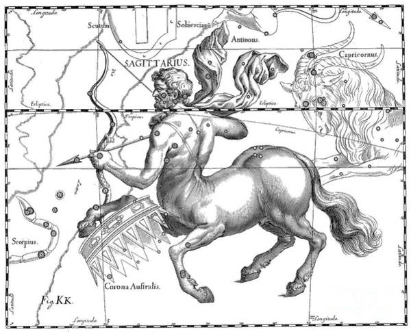 Wall Art - Drawing - Sagittarius, The Zodiacal Constellation Of The Archer by Johann Hevelius