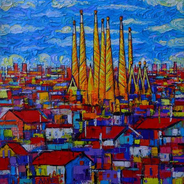 Painting - Sagrada Familia Barcelona Abstract Cityscape Textural Impasto Knife Oil Painting Ana Maria Edulescu by Ana Maria Edulescu