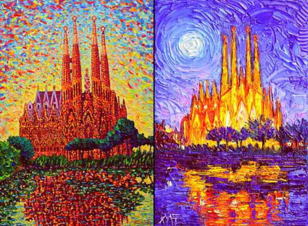 Painting - Sagrada Familia Barcelona Day And Night Textural Impasto Knife Oil Paintings Ana By Maria Edulescu by Ana Maria Edulescu