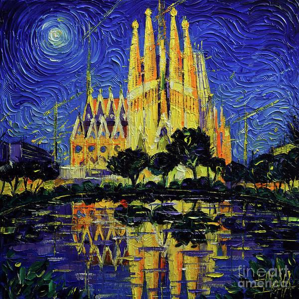 Wall Art - Painting - Sagrada Familia Barcelona Mirrored Palette Knife Impasto Oil Painting Mona Edulesco by Mona Edulesco