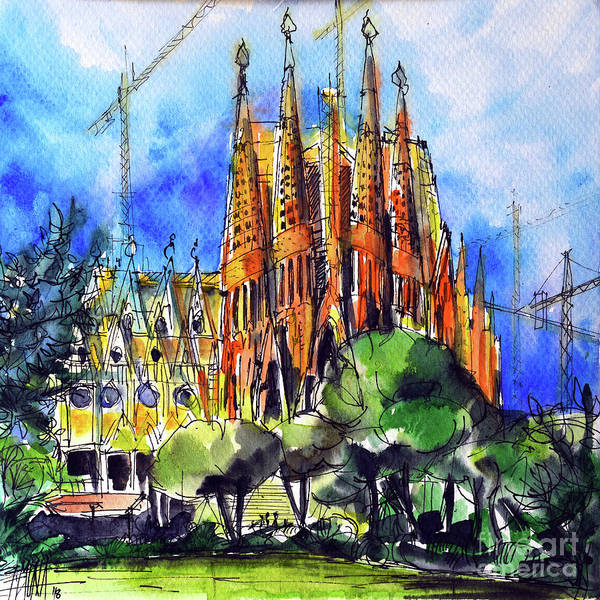 Wall Art - Painting - Sagrada Familia Barcelona Watercolor Painting Mona Edulesco by Mona Edulesco
