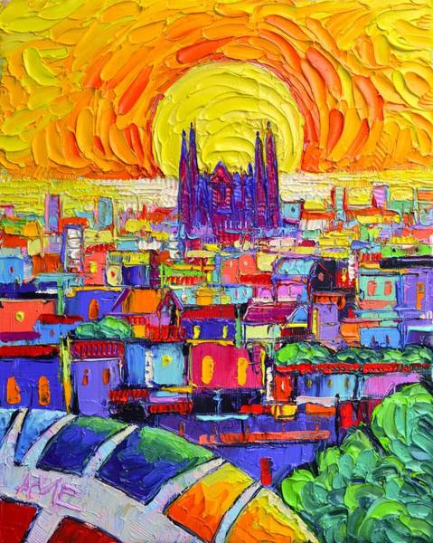 Painting - Sagrada Familia From Park Guell At Sunrise Barcelona Abstract Cities Impasto Painting Ana Edulescu by Ana Maria Edulescu