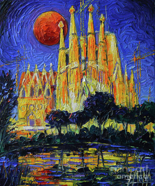 Wall Art - Painting - Sagrada Familia Illuminated - Impasto Palette Knife Oil Painting Mona Edulesco by Mona Edulesco