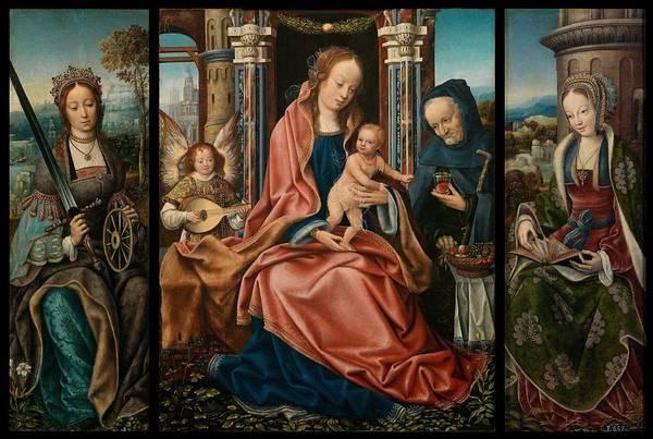 Wall Art - Painting - Sagrada Familia With Musician Angel  Santa Catalina De Alejandra  Santa Brbara  by Master of Frankfurt