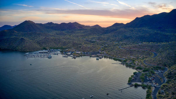Photograph - Saguaro Lake Canyon Sunset by Ants Drone Photography