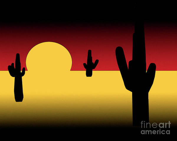 Digital Art - Saguaro Sunset by Kirt Tisdale