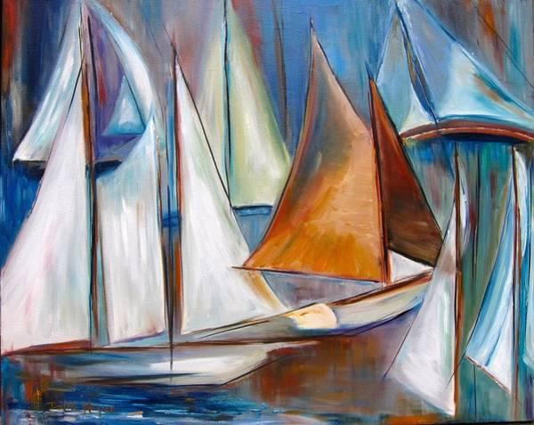 Wall Art - Painting - Sail I by Dalita Haigian