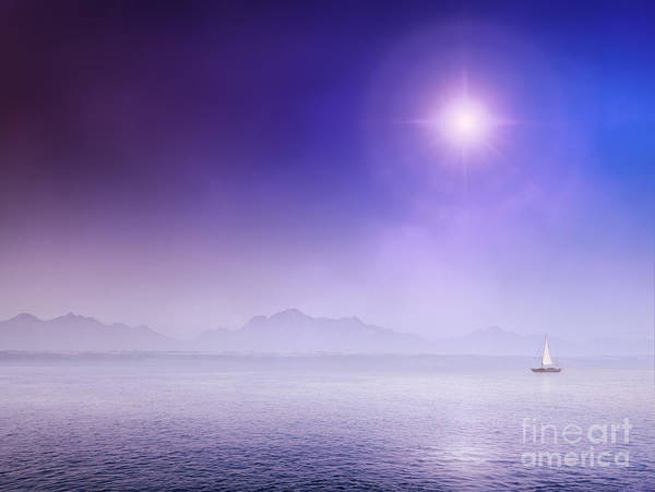 Vessel Wall Art - Photograph - Sail Yacht On Misty Ocean by Johan Swanepoel