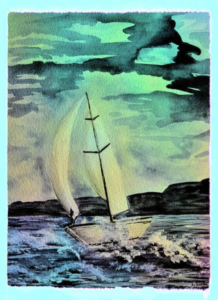 Wall Art - Mixed Media - Sailboat Abstract 1 by Linda Brody
