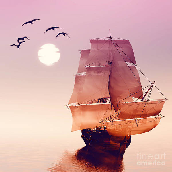 Wall Art - Digital Art - Sailboat Against A Beautiful Landscape by Eva Bidiuk