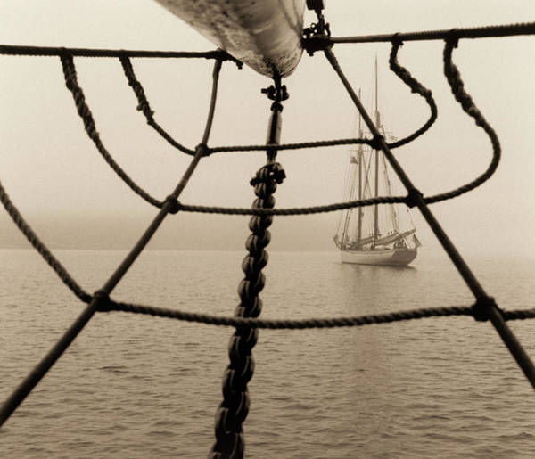 Rigging Photograph - Sailboat And Jack Net by Alison Langley