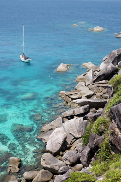 Snorkel Photograph - Sailboat And Snorkelers Near Granite by Holger Leue