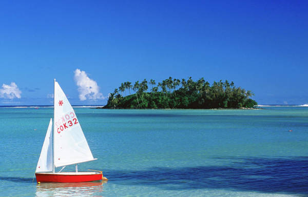 Rarotonga Photograph - Sailboat And Taakoka Motu From Muri by Holger Leue