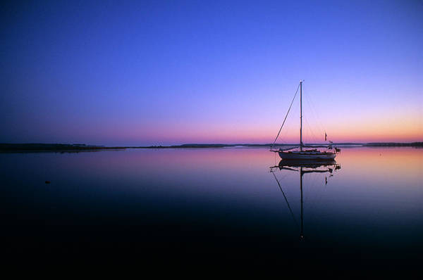 Wall Art - Photograph - Sailboat At Dawn On Calm Water Campbell by Panoramic Images