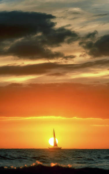 Photograph - Sailboat In Front Of A Hawaiian Sunset by Christopher Johnson