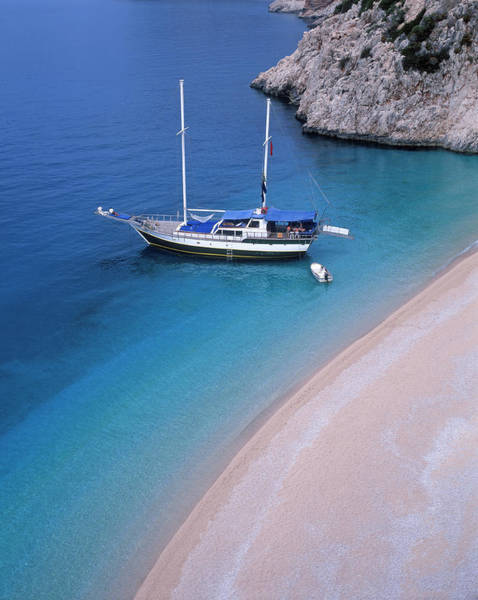 Sailboat Photograph - Sailboat In Kapitas Bay, Turkey by Franz Aberham