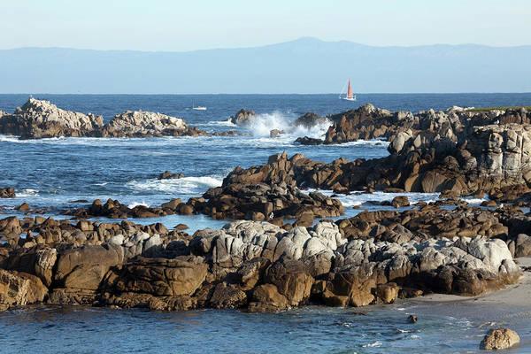 Monterey Bay Photograph - Sailboat In Monterey Bay Along Rocky by Milehightraveler