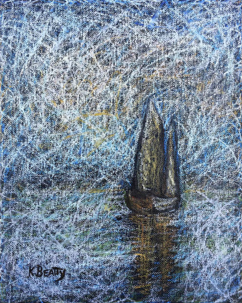 Scumble Wall Art - Painting - Sailboat In The Mist by Karla Beatty