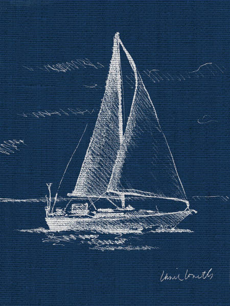 Wall Art - Painting - Sailboat On Blue Burlap I by Lanie Loreth