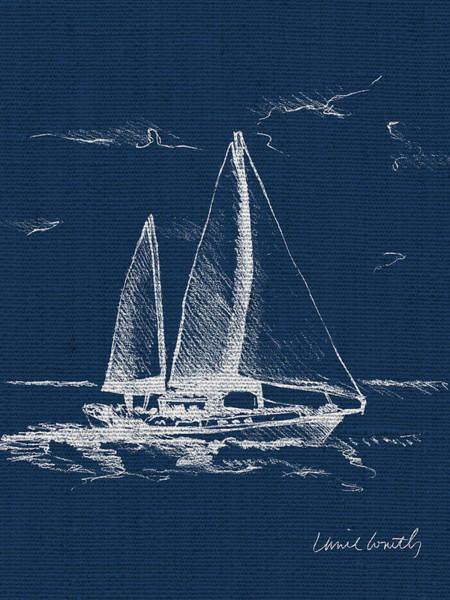 Wall Art - Painting - Sailboat On Blue Burlap II by Lanie Loreth