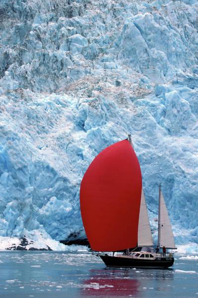 Luxury Yacht Photograph - Sailboat Prince William Sound Alaska by Laughingmango