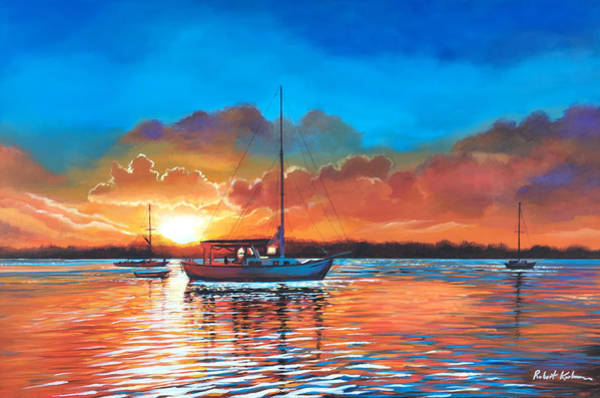 Cloud Cover Mixed Media - Sailboat Sunset In Key West by Robert Korhonen