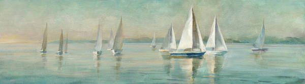 Wall Art - Painting - Sailboats At Sunrise Crop by Danhui Nai
