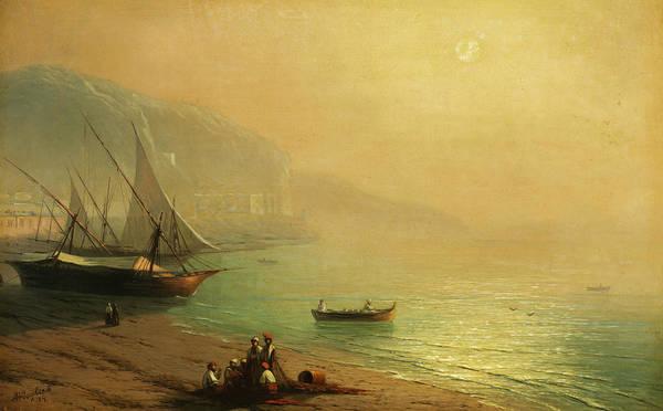 Wall Art - Painting - Sailboats At The Crimean Coast by Ivan Aivazovsky