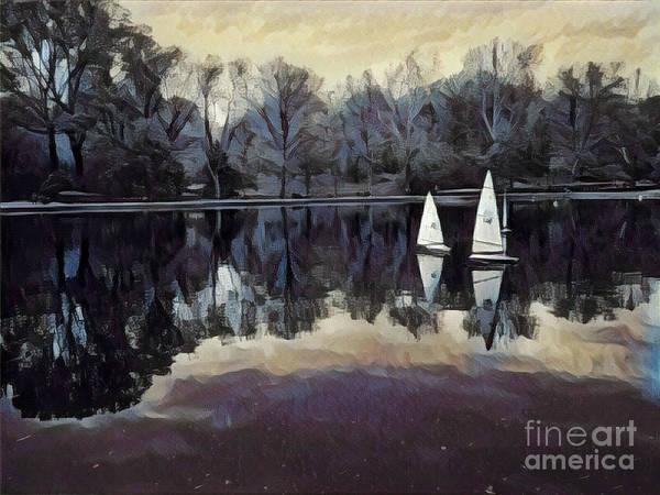 Wall Art - Photograph - Sailboats At Twilight - Central Park New York by Miriam Danar