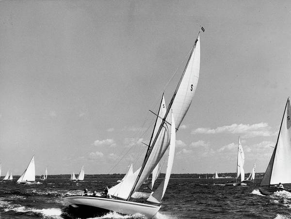 Photograph - Sailboats Competing On Race Day On Long by Alfred Eisenstaedt