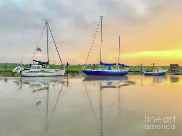 Andrew Jackson Wall Art - Painting - Sailboats On The River Blyth Southwold England by Andrew Jackson