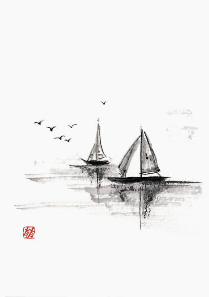White Background Digital Art - Sailboats On The Water by Daj
