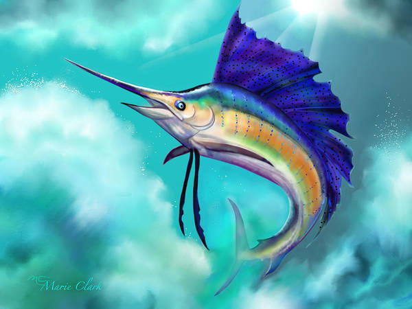 Scriptural Painting - Sailfish by Marie Clark