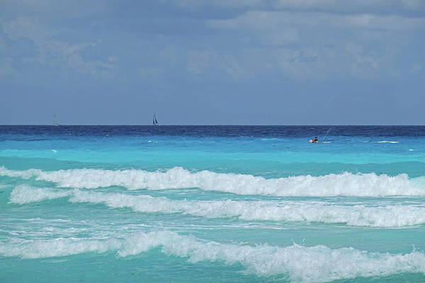 Photograph - Sailing And Jet Skiing On The Beautiful Blue Water Of Cancun Beach Cancun Mexico by Toby McGuire