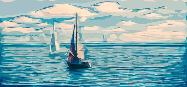 Sea View Digital Art - Sailing by ArtMarketJapan