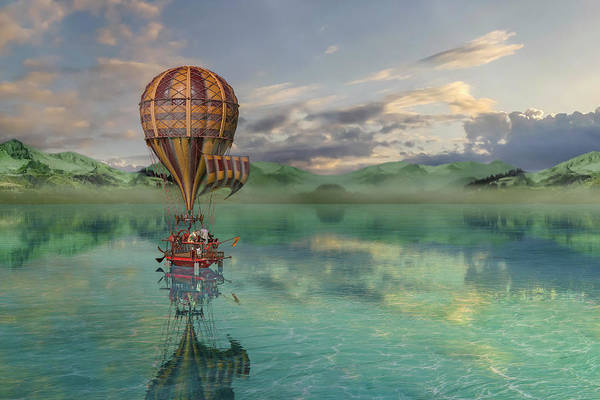 Wall Art - Digital Art - Sailing Away Daydream Steampunk by Betsy Knapp