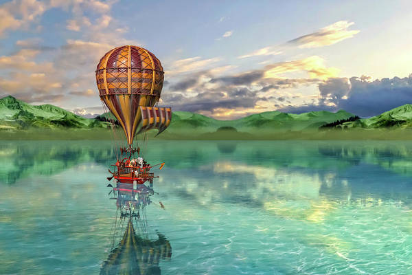 Wall Art - Digital Art - Sailing Away Daydream Steampunk Custom by Betsy Knapp